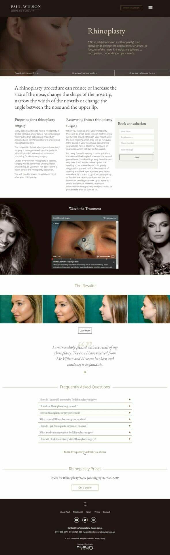 Paul Wilson Cosmetic Surgery website design portfolio