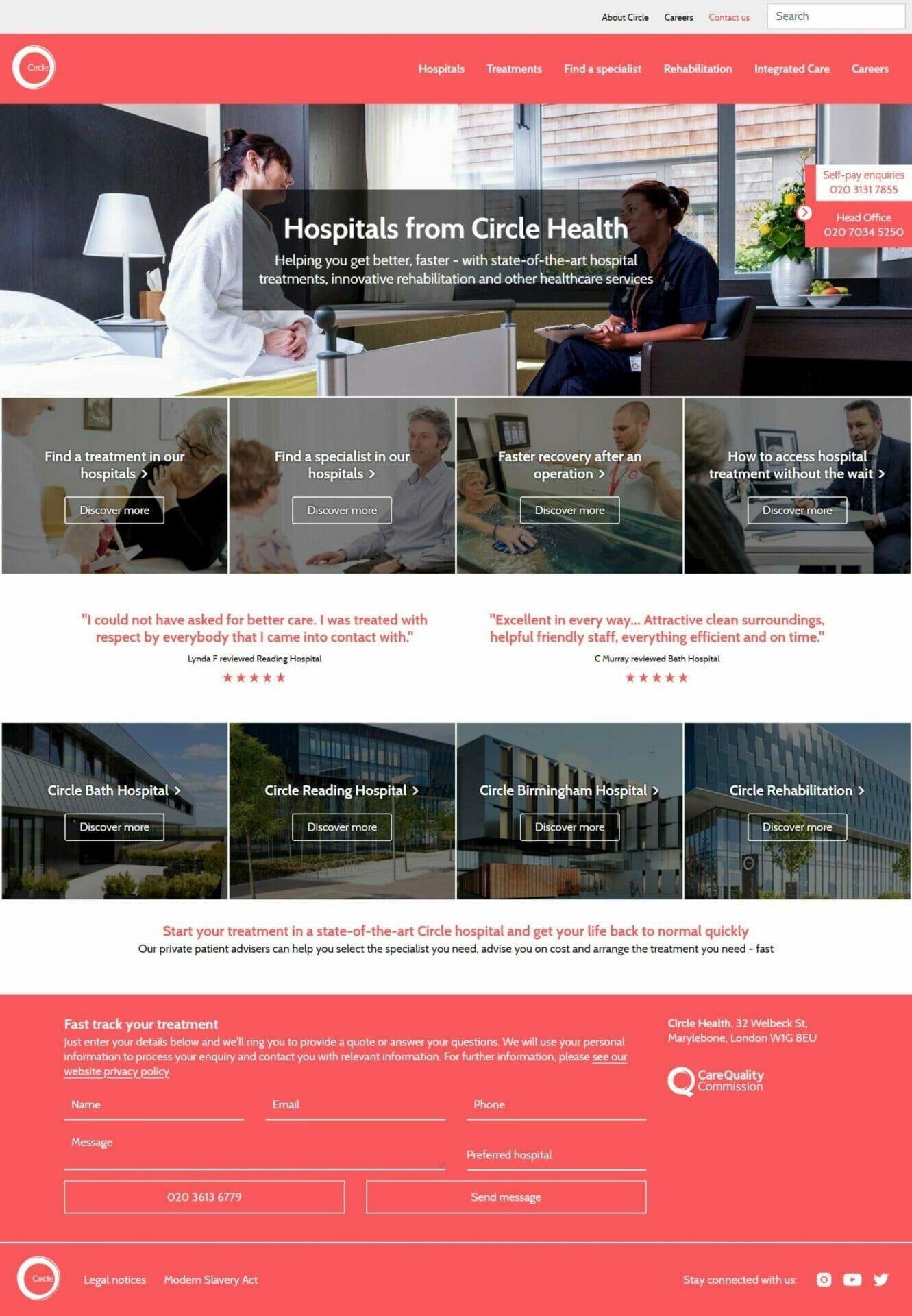 Circle Health Homepage mockup