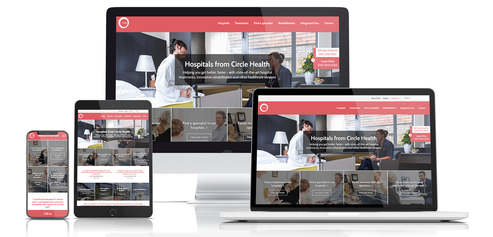 Circle Health Website Design on all devices
