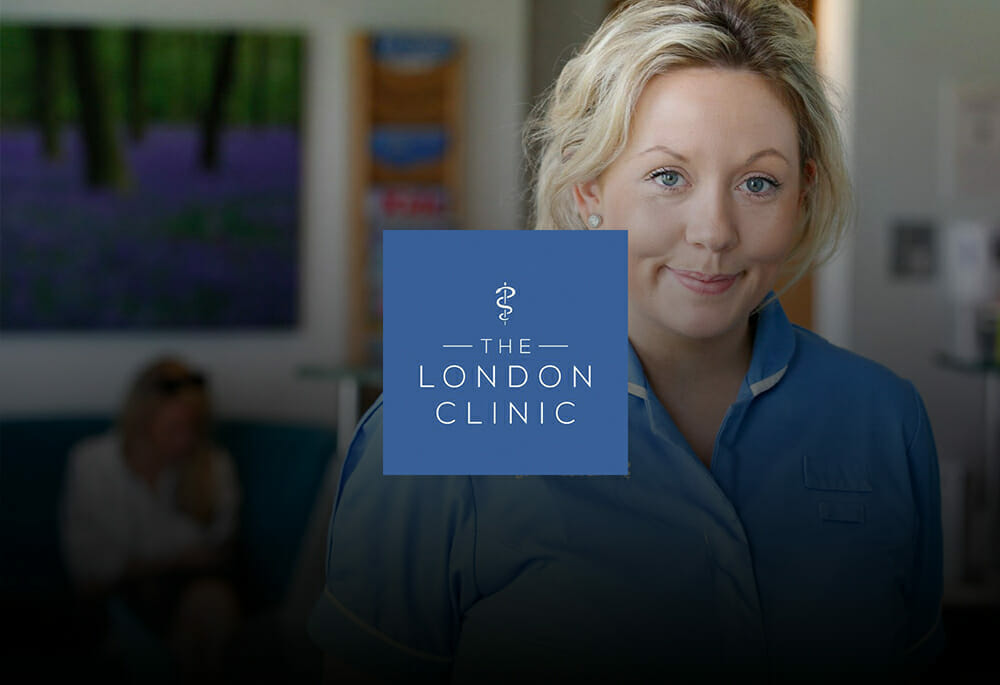 The London Clinic Logo with Female Nurse in background